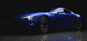 Blå sportbil