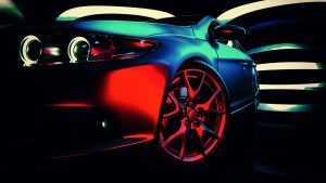 Bil med nya hjul